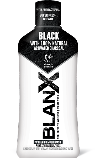 BlanX® Black mouthwash special formula combines antibacterial property of natural Arctic Lichens and Zinc PCA with the whitening and anti-stain effect of natural Activated Charcoal.
